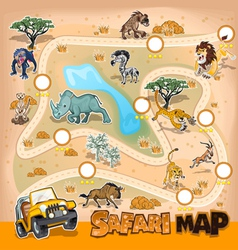 Africa Safari Map Wildlife vector