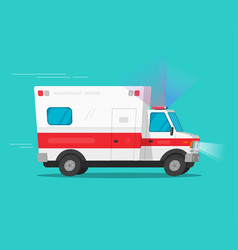 ambulance emergency car moving fast vector image