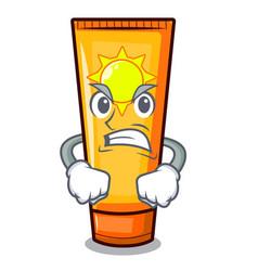 Angry cartoon sun cream in bag makeup vector