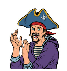 Applause a man pirate carnival costume with hat vector