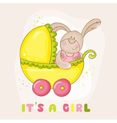 Baby bunny in carriage - for shower vector