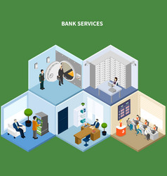 bank services isometric background vector image