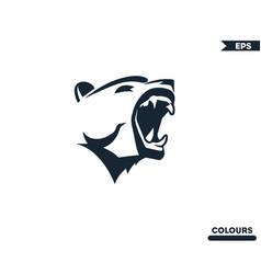 bear roaring logo vector image