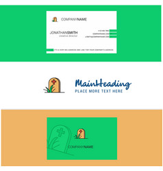 Beautiful grave logo and business card vertical vector