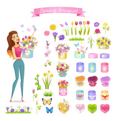 Beautiful woman holds spring bouquet in round box vector