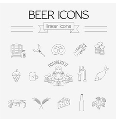Beer icon set Logos and badges template Linear vector image