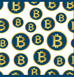 bitcoin seamless pattern golden coins background vector image