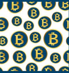 Bitcoin seamless pattern golden coins background vector