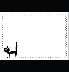 black cartoon cat and paw prints frame vector image