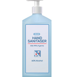 Branded sanitizer bottle composition vector