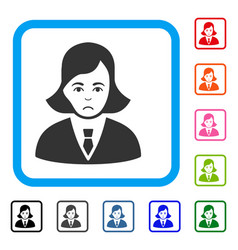 Business lady framed dolor icon vector