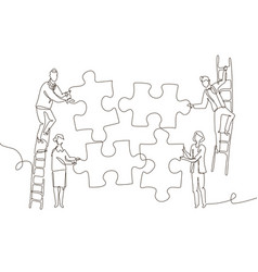 Business team doing a puzzle - one line design vector