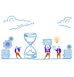 businessman looking binocular sand clock deadline vector image