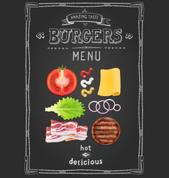 cafe burgers menu food restaurant template design vector image