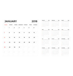 calendar 2018 template calendar planning week vector image