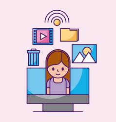 cartoon girl in computer social media apps vector image