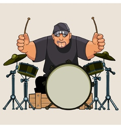 Cartoon hefty man drummer performs on drums vector