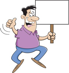 Cartoon Jumping Man with a Sign vector image