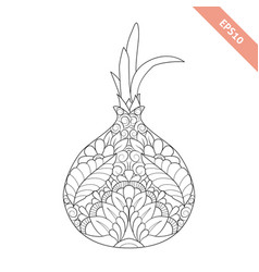 Cartoon onion with floral ornament vector