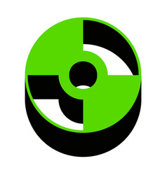 Cd or dvd sign green 3d icon with black vector