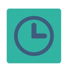 Clock flat cobalt and cyan colors rounded button vector