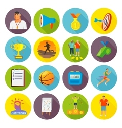 Coaching Sport Icons Flat vector image vector image