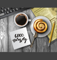 Coffee cup on a wooden table vector
