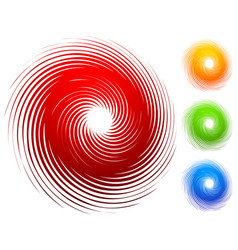 Colorful spiral set abstract swirl twirl design vector