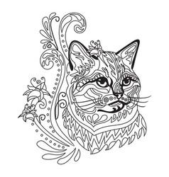 Coloring antistress cat 8 vector