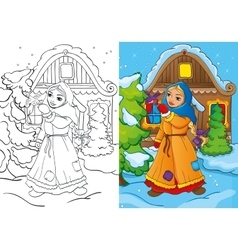 Coloring Book Of Poor Girl Feeds A Bird vector