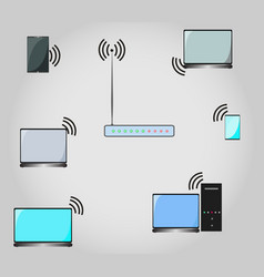 conceptual image of the wi fi network vector image