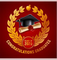 congratulations graduates emblem design vector image