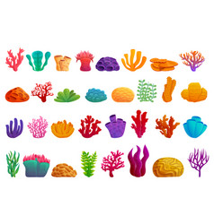 Coral icons set cartoon style vector