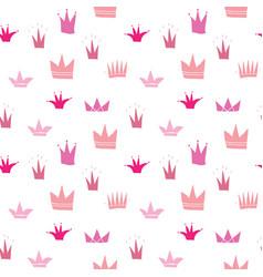 Crown seamless pattern hand drawn royal doodles vector