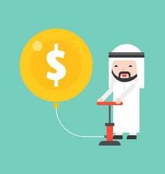 Cute arab business man pumping money air balloon vector