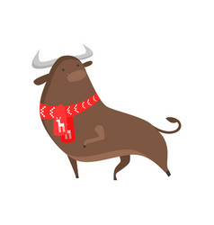 cute good bull symbol of the new year a bull in a vector image
