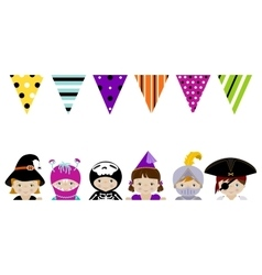 Cute kids in fancy costumes border vector