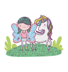 Cute little fairy with unicorn in the field vector