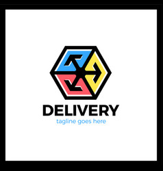 Delivery box three arrow logotype colorful style vector
