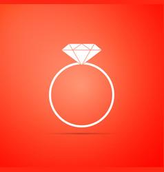 diamond engagement ring icon on orange background vector image