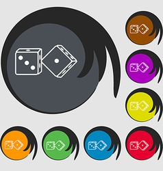 Dices icon Symbols on eight colored buttons vector