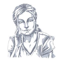 Drawing thinking woman with stylish haircut vector