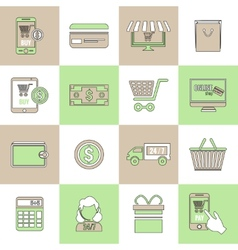 E-commerce icons set flat line vector image