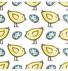 easter pattern with eggs and yellow chicken vector image