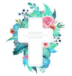 easter watercolor natural with cross sticker vector image