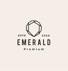 emerald gem hipster vintage logo icon vector image