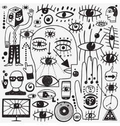 eyes doodles set vector image