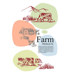 Farm with cow and text with color template vector
