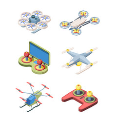 flying drones set modern robotic devices vector image