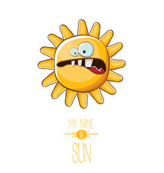 funky cartoon style summer sun character vector image